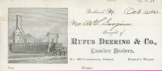Rufus Deering & Co., Lumber Dealers Letterhead, c. 1882
