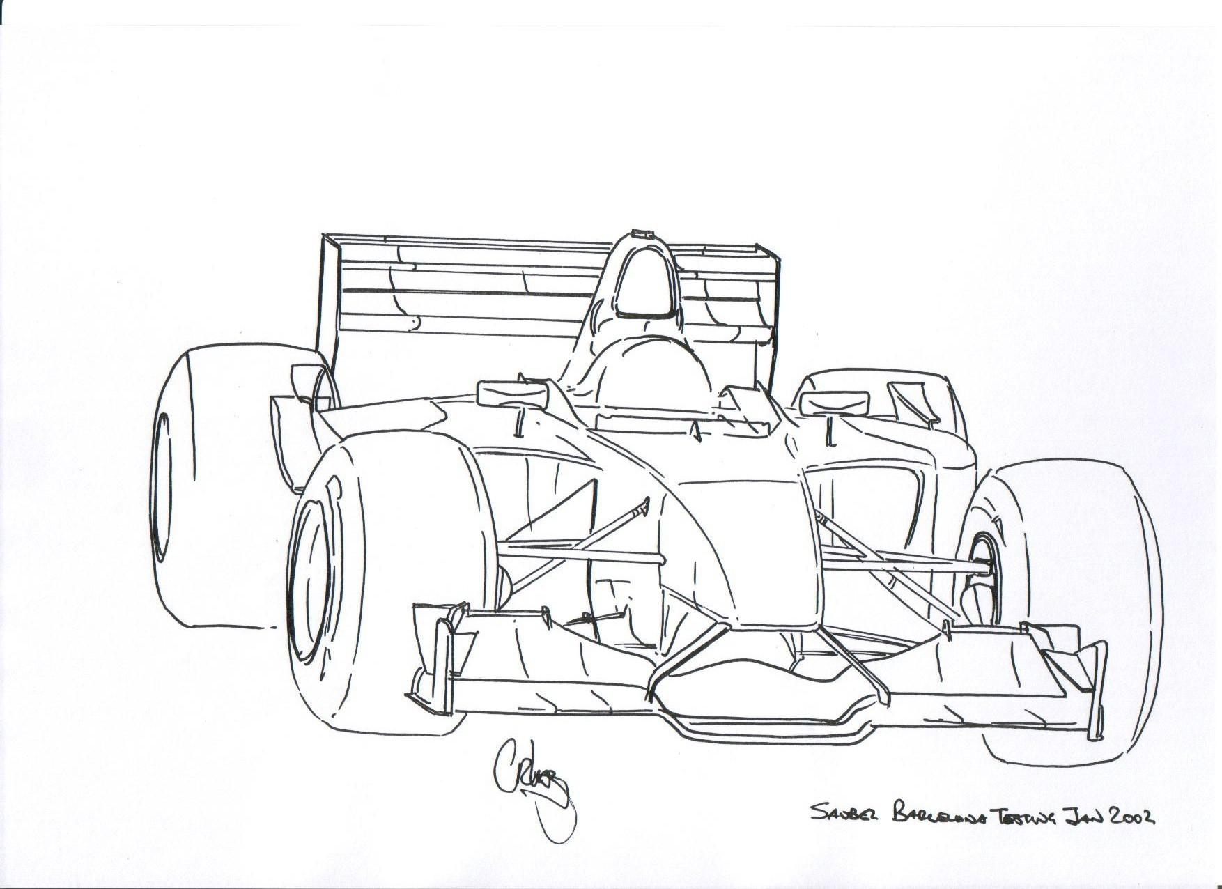 F1 Car Sketch Sketch Coloring Page