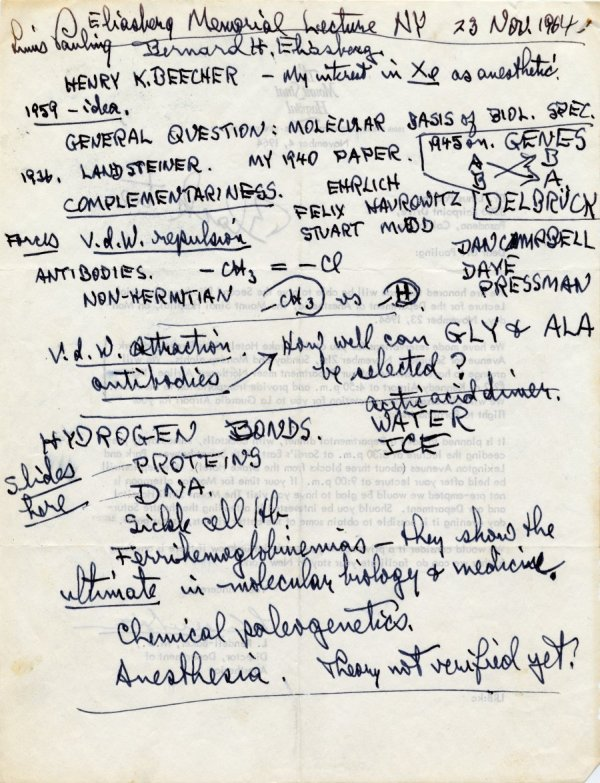 Notes re: molecular medicine and anesthesia. November 23, 1964.