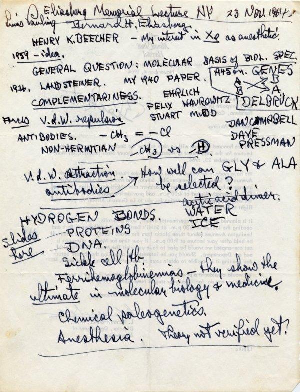 Notes re: molecular medicine and anesthesia. November 23, 1964.