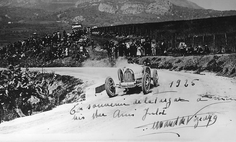 Ferdinand de Vizcaya in the Bugatti Type 35 during the 1925 Targa Florio