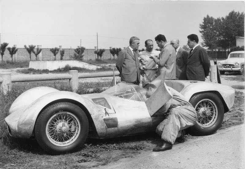 Stirling Moss testing the Maserati Birdcage at the Modena Autodromo (credit: Archivio Maserati)