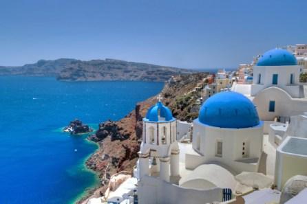 Church Cupolas of Oia town on Santorini island