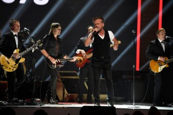"""RED NOSE DAY 2 -- Season: 1 -- Pictured: (l-r) Keith Urban and John Mellencamp perform at NBC's """"Red Nose Day"""" Charity Event at the Hammerstein Ballroom in New York, NY on May 21, 2015 -- (Photo by: David Giesbrecht/NBC)"""