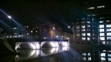 The bridge to the Thekla/Fleece by night.
