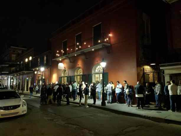 Lining up outside Let Petit Theatre