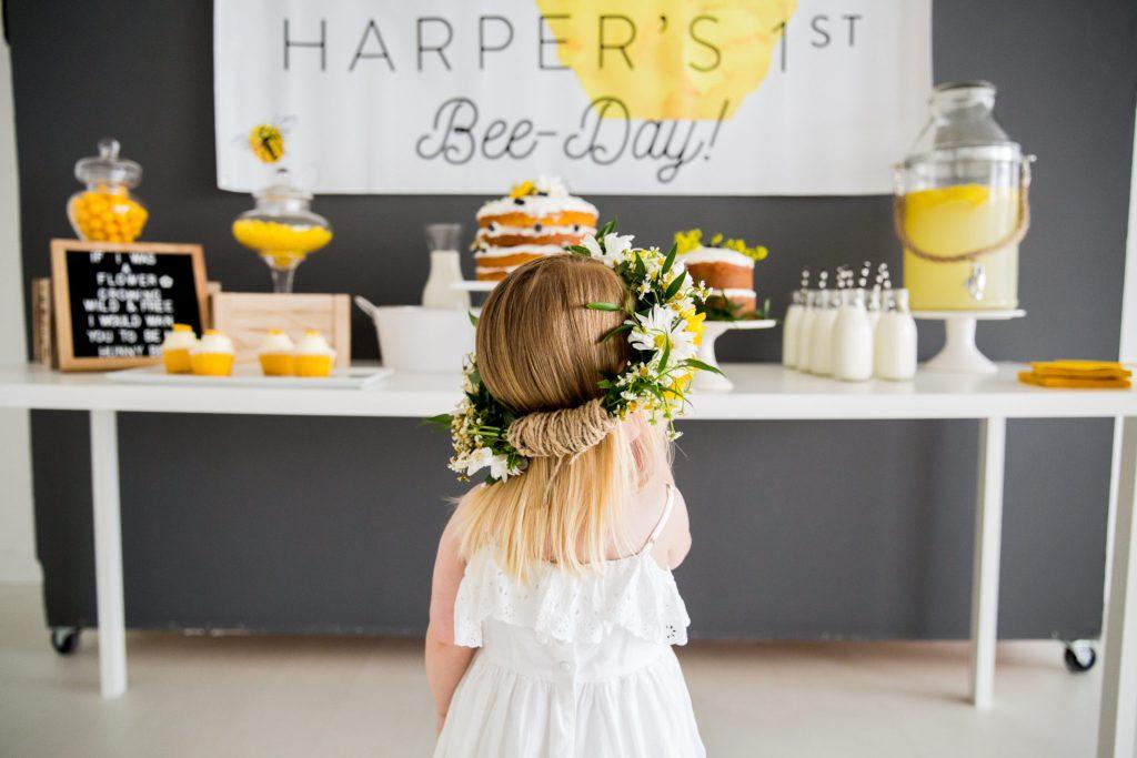 little girl wearing a flower crown