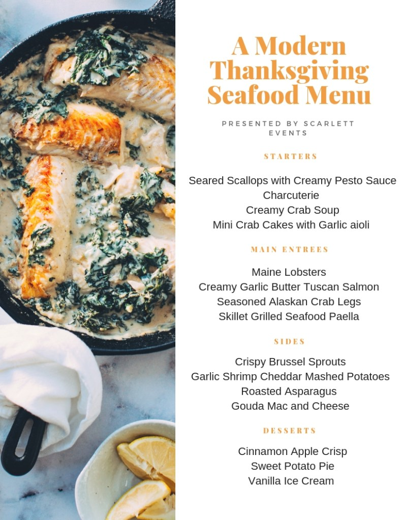 modern seafood thanksgiving menu by scarlett events, including skillet grilled seafood paella