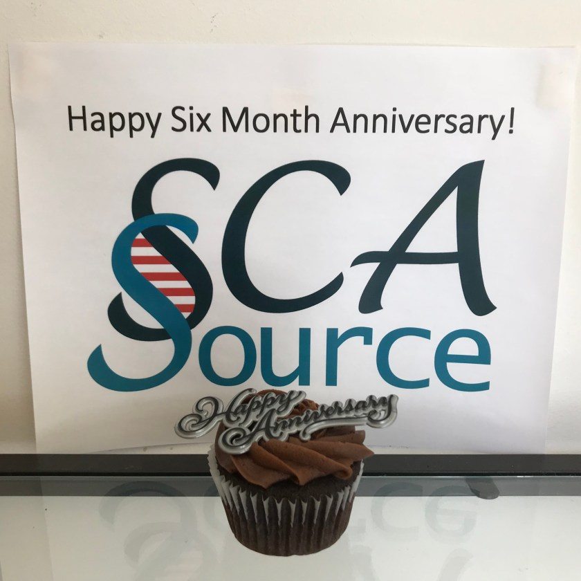 """chocolate cupcake with """"Happy Anniversary"""" topper in front to sign which says """"Happy Six Month Anniversary SCAsource!"""""""