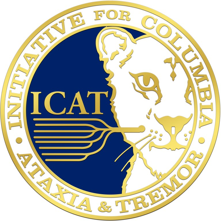 Initiative for Columbia Ataxia and Tremor Logo. It is a circle containing a lion with its whiskers to look like a neuron