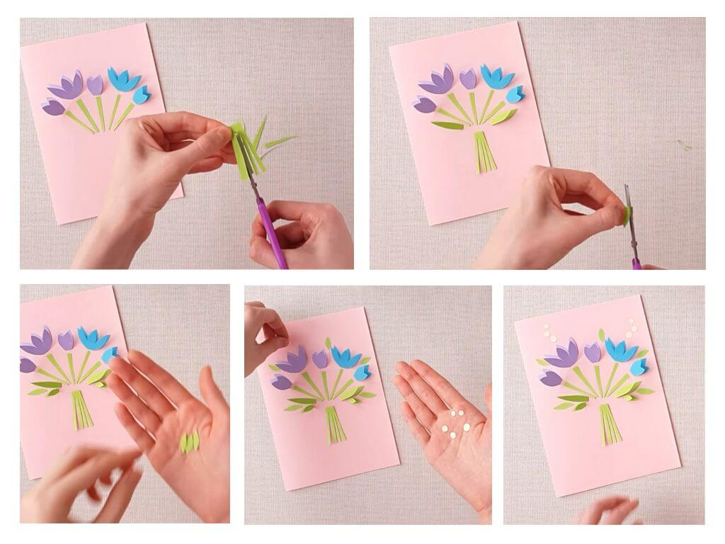 Как сделать из бумаги открытку на 8 марта для мамы, нескучных выходных