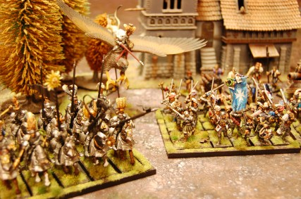 Heavy Imperial cavalry together with a Captain on a baby Griffon (Pegasus) side by side with the fearsome Greatswords!