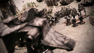 A Stormraven Gunship engage Cadian troops. Photo: Leonard Dime