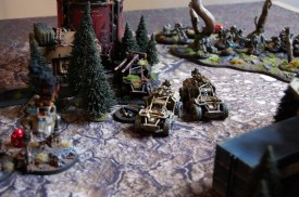 """As the muzzle flashes and gunfire goes silent, both armies have lost two units each, this will be a bloody game indeed! In the assault phase, Fredrik fails to make the 9"""" charge for the Terminators (even with a command re-roll), thus failing to lock two of the broadsides in combat...."""