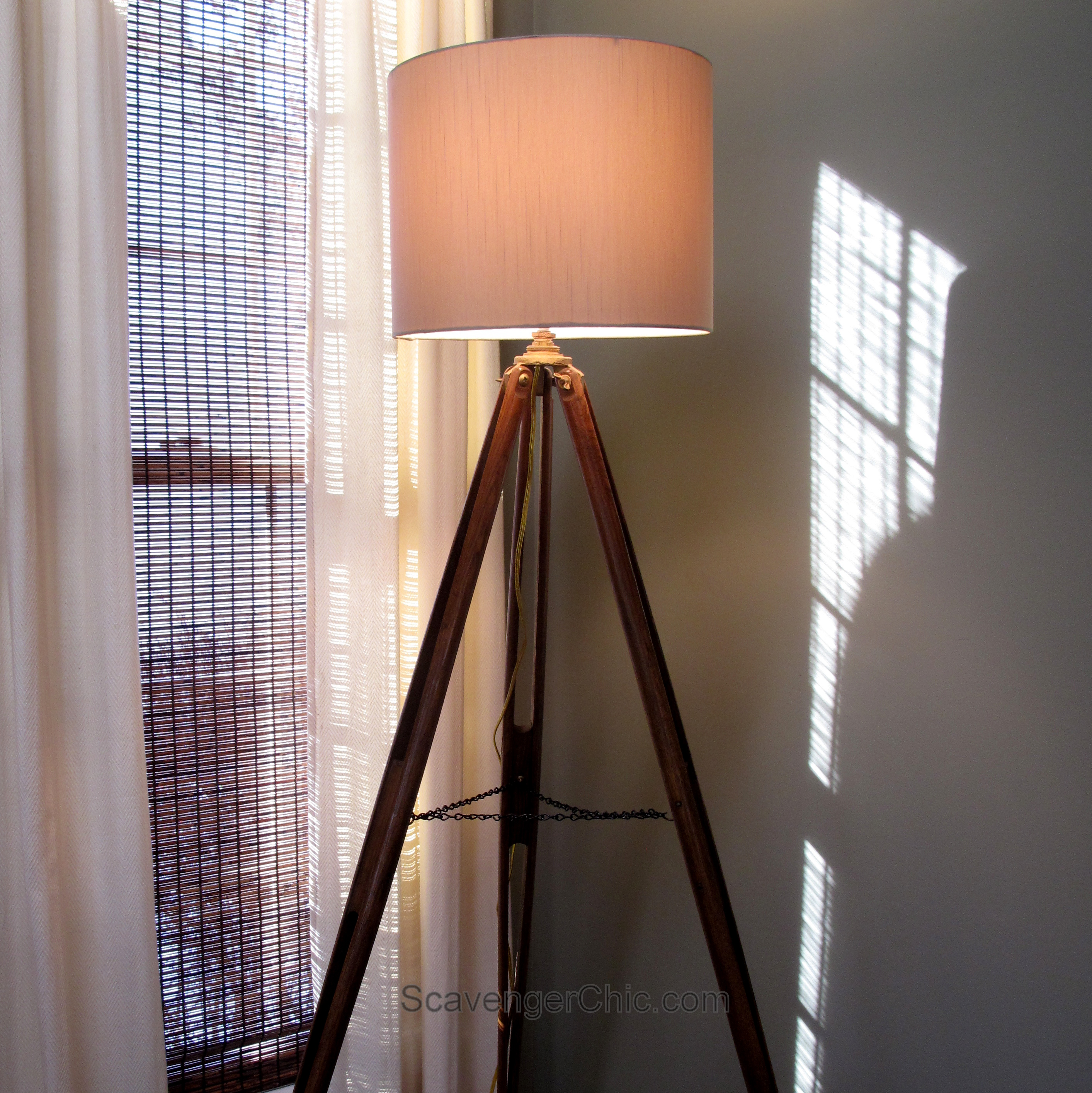 Upcycled projects by category lighting and shutters for Surveyors floor lamp wood