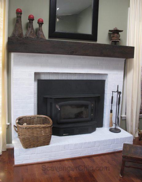 Easy Faux Railroad Tie Mantel, Faux White Fireplace Mantel