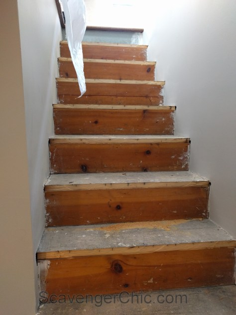 Weekend Project Installing New Stair Treads Scavenger Chic