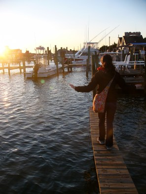 Stepping into the sunset in Ocracoke