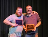 These two SCCC employees have reached the 15-year mark and clearly believe work should also be fun. Honored for their tenure at the Monday Service Awards are Rusty Tuman, left, and Dustin Farmer.