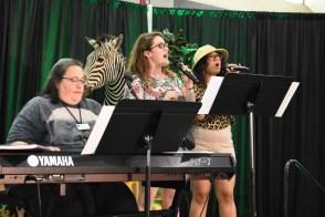 Musicians and zebra