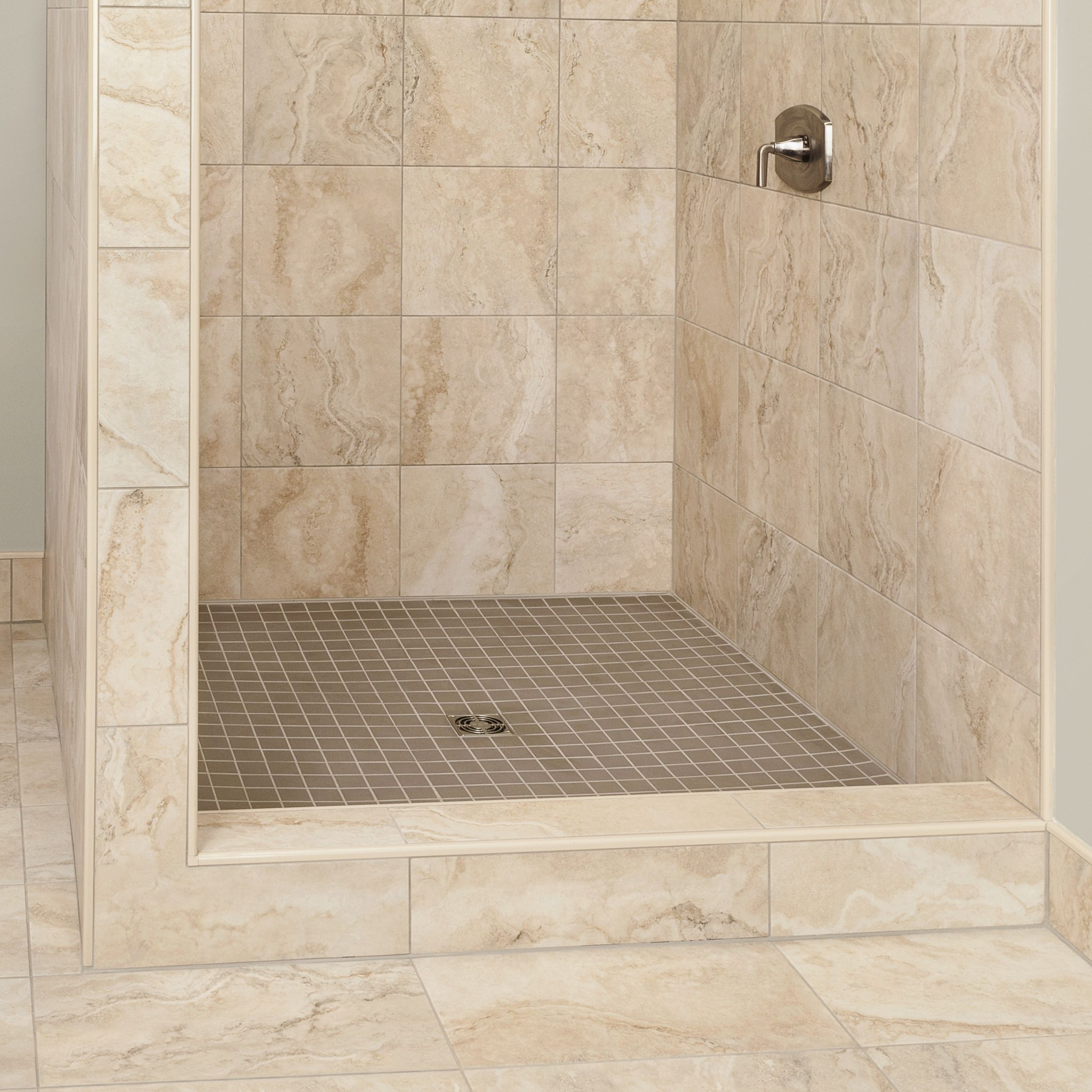 Point Drain Shower With Curb With KERDI Waterproofing