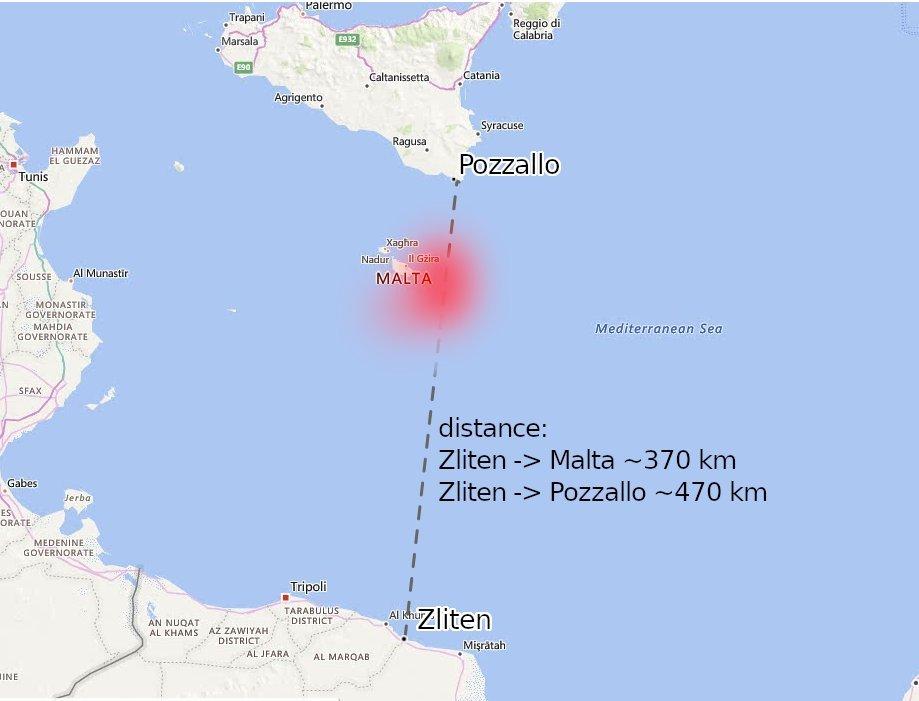 Le périple des 101 migrants s'est finalement achevé le 12 avril à Pozzallo, en Sicile. Crédit : Alarm Phone