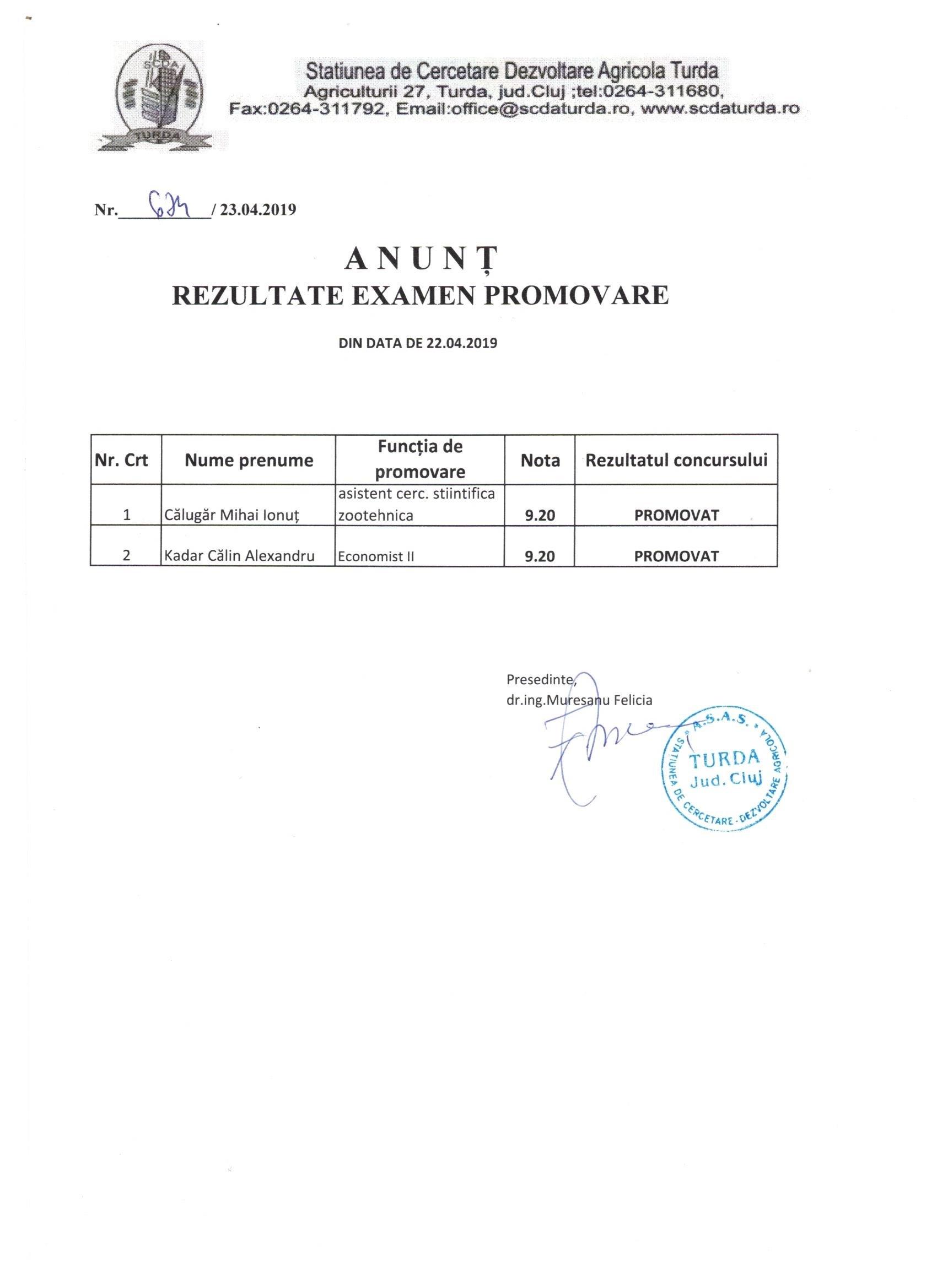 Anunt rezultate examen promovare 23.04.2019