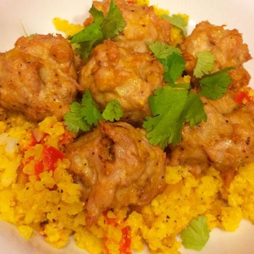 SCD Indian Spiced Meatballs with Creamy Turmeric Cauliflower Rice