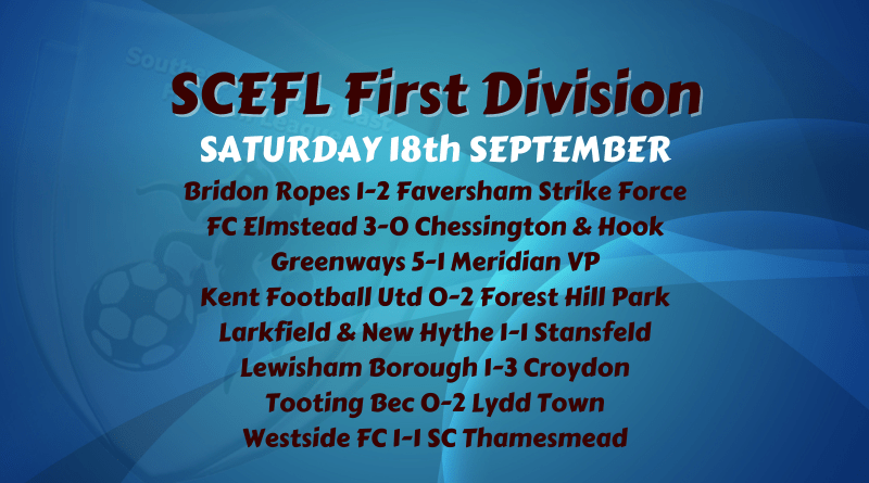 First Division – Saturday 18th September