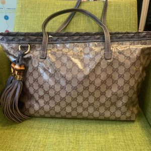 GUCCI BAMBOO TASSEL GG CRYSTAL BROWN COATED CANVAS TOTE
