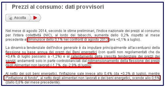 ISTAT DEFLAZIONE