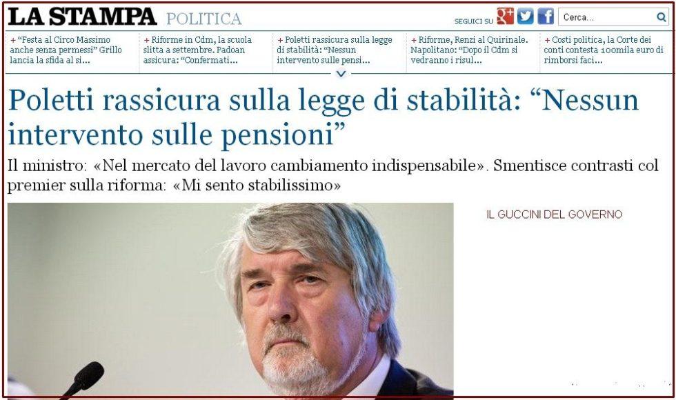 poletti non tocca pensioni