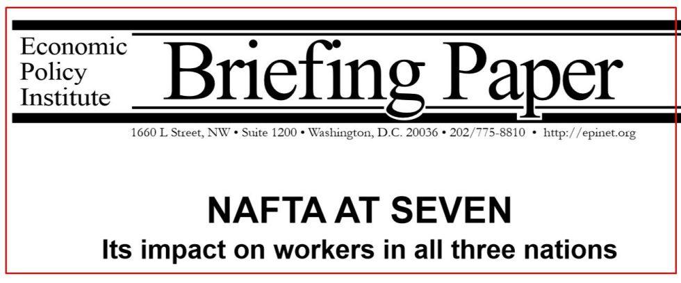 NAFTA AT SEVEN PER USA, MESSICO E CANADA