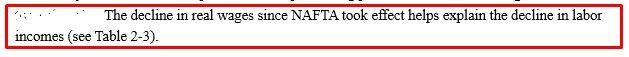 NAFTA EXPLAIN DECLINE IN LABOUR WAGES