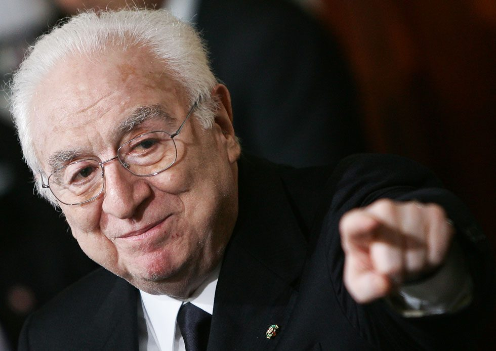This picture taken on May 16, 2006 in Rome show Italian senator and former President Francesco Cossiga during a press conference after a meeting with Italian President Giorgio Napolitano at Quirinale. Senator Cossiga died on August 17, 2010. Cossiga was Prime Minister between August 1979 and October 1980 and served as President between 1985 and 1992.  AFP PHOTO / ANDREAS SOLARO (Photo credit should read ANDREAS SOLARO/AFP/Getty Images)