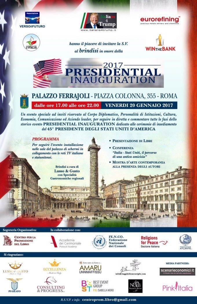 Italy greets the 45th US President Donald J. Trump with an Inauguration event in the heart of Rome, in front of the Italian Parliament