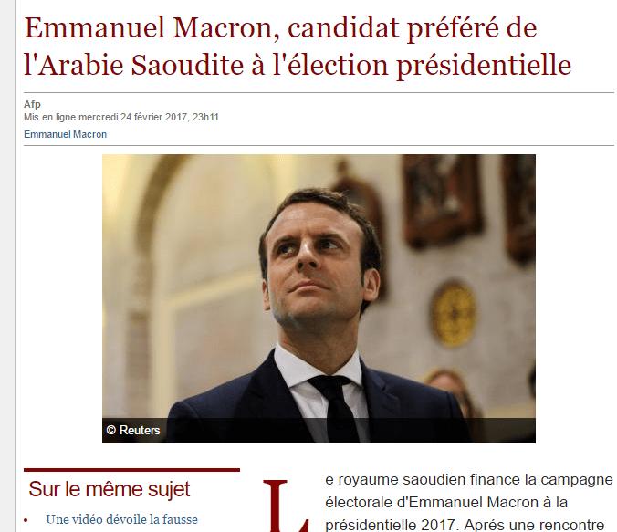 MACRON FINANZIATO DALL'ARABIA SAUDITA (LE SOIR.INFO)? FAKE NEWS AD HOC