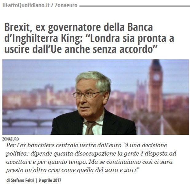 Ex Governatore UK: è questione politica, restando nell'Euro bisogna accettare un decennio di bassa crescita ed alta disoccupazione, forse in eterno
