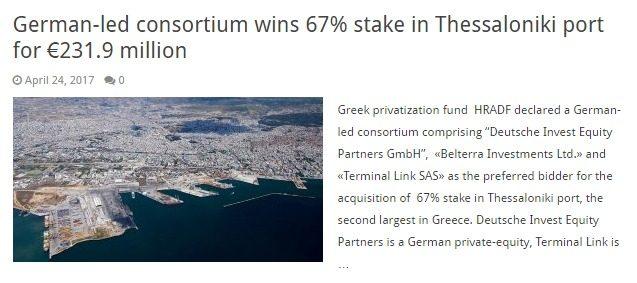 Prima li affami e poi li compri (encore): il porto greco di Tessalonika comprato in saldo dai tedeschi, che caso…