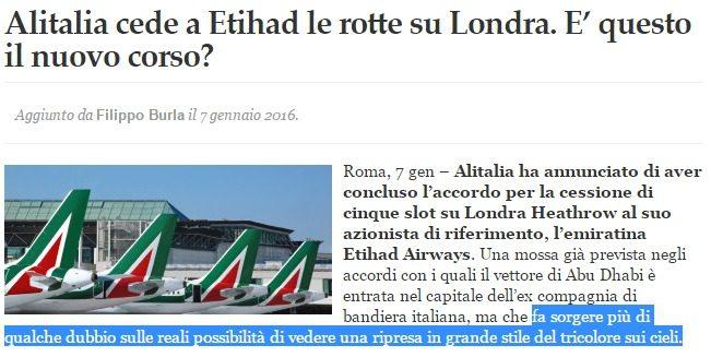 Alitalia alla fine, forse la compra Lufthansa. Un leitmotiv a cui gli italiani dovranno abituarsi…