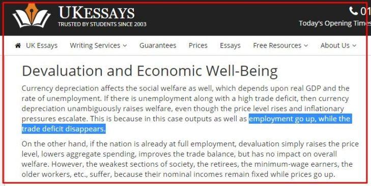 """UK ESSAYS: """"SVALUTAZIONE E BENESSERE ECONOMICO"""""""