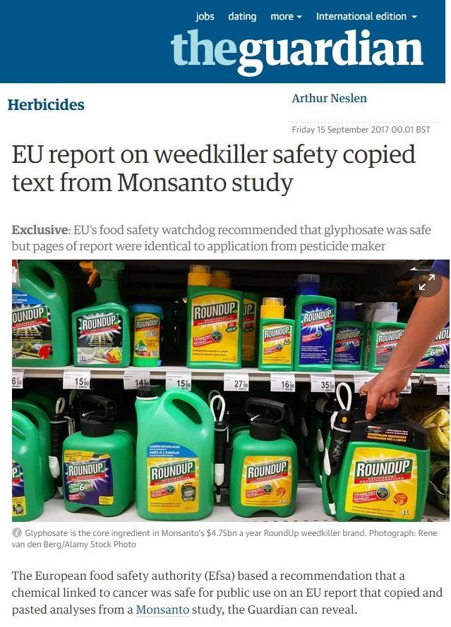 L'EFSA Autorità Europea per la Sicurezza Alimentare copia i suoi rapporti da quelli della Monsanto
