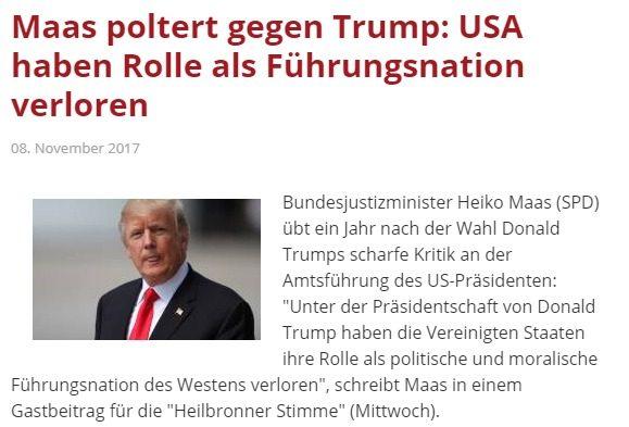 """Berlino continua ad insultare Trump, """"con lui gli USA hanno perso il ruolo di leader mondiale"""". Per forza, sono i tedeschi a volersi sostituire a Washington in EU"""