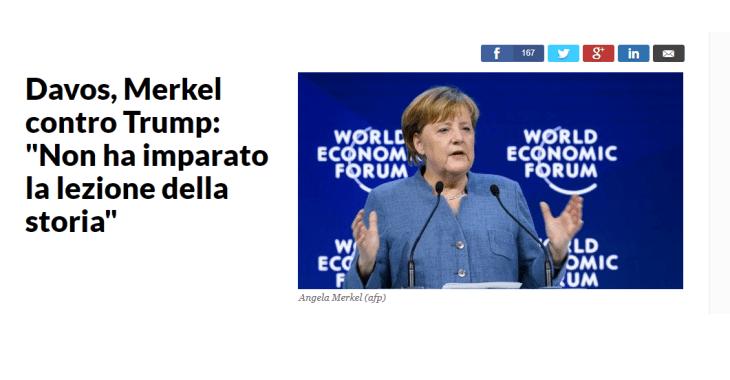 LA MERKEL: TRUMP NON HA IMPARATO LA LEZIONE DELLA STORIA. LA GERMANIA, INVECE
