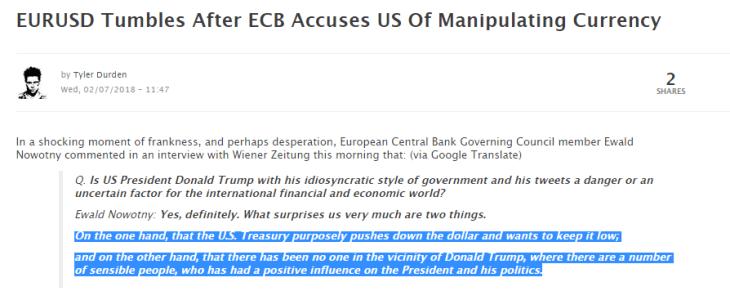 Capito perchè del crollo di borsa? Alcune banche hanno fatto acquisti folli di volatilità. E poi oggi Nowotny (BCE) accusa Trump di volere un dollaro basso… Sfida EU-USA