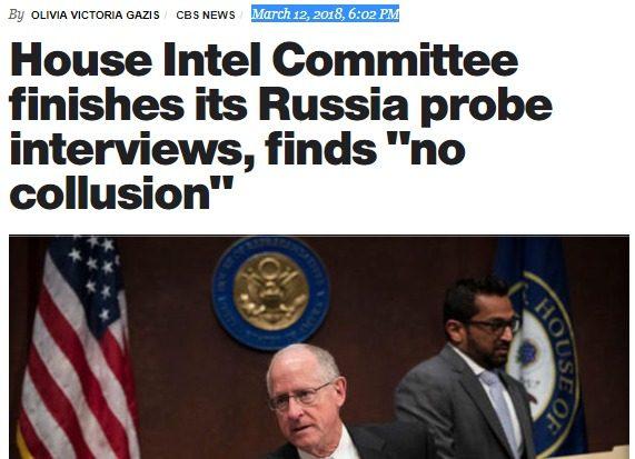 Clamoroso (nessun media ne parla): la CBS riporta che la Commissione Intelligence della Camera USA ha  concluso che NON ci furono collusioni con la Russia del team Trump!