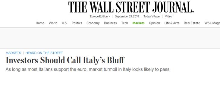 IL WALL STREET JOURNAL: COMPRATE TITOLI ITALIANI, ANCHE PER  VEDERE IL BLUFF