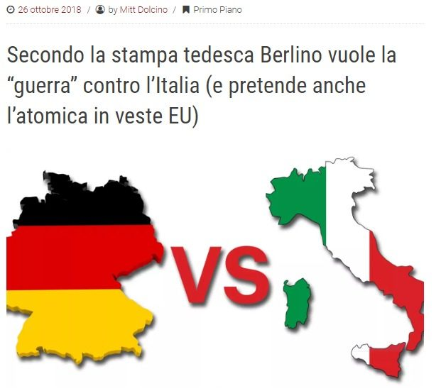 """Secondo la stampa tedesca Berlino vuole la """"guerra"""" contro l'Italia (e pretende anche l'atomica in veste EU)"""