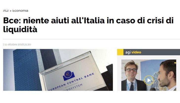 Una Banca Centrale che rifiuta di garantire liquidità è come un compagno d'arme che vi abbandona e fugge: un esempio di vigliaccheria