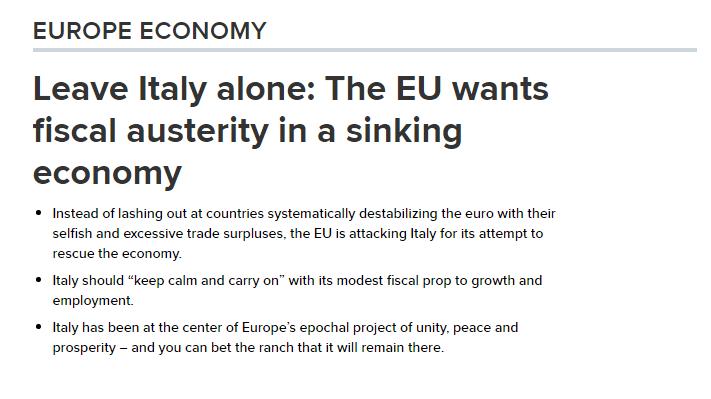 CNBC: LASCIATE STARE L'ITALIA! La UE vuole l'austerità in un'economia in decrescita